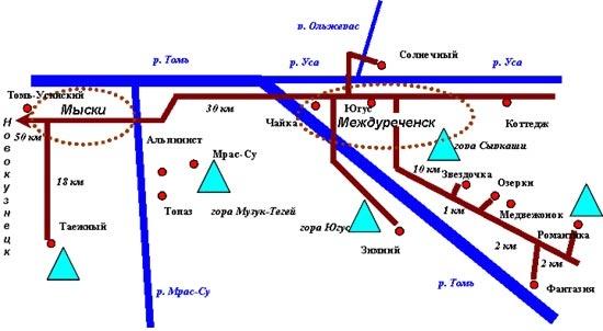 Схема курорта Югус