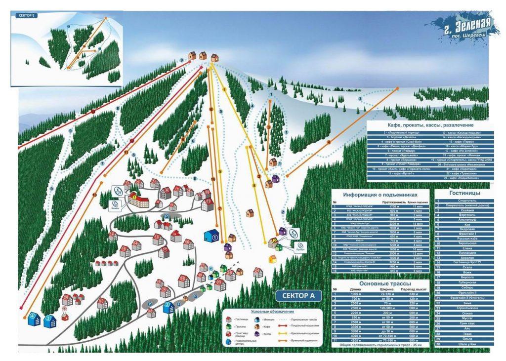 Схема курорта г. Зеленая